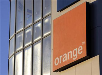 The logo of the Orange telecommunication and internet provider is pictured in Lausanne