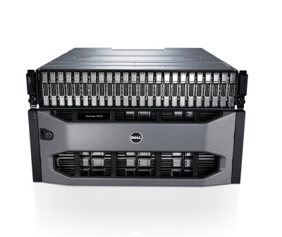 360 degree shot of 2U and 4U Dell EqualLogic PS6210 Storage Systems.
