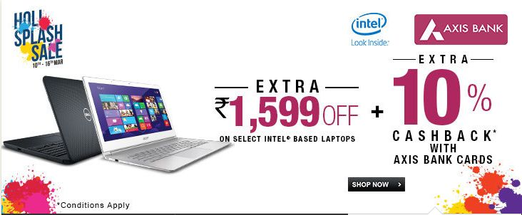 Holi offer on Intel-based laptops