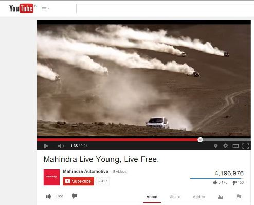 Mahindra & Mahindra promotion on YouTube