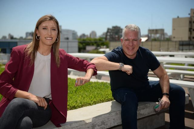 Agustina Fainguersh, founder and CEO of Wolox, and Sergio Kaufman, president of Accenture Argentina